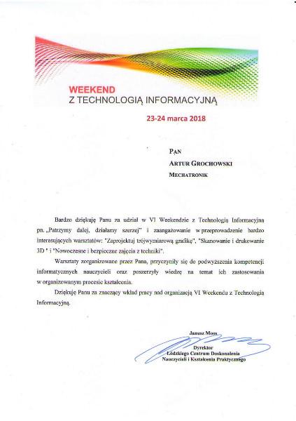 Podziękowania Łódź - Wkkend z technologia